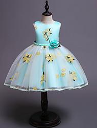 cheap -Kids / Toddler Girls' Vintage / Sweet Floral Sleeveless Knee-length Dress Green