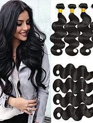 tanie -6 pakietów Włosy brazylijskie Body wave Nieprzetworzone włosy naturalne Nakrycie głowy Fale w naturalnym kolorze Pakiet włosów 8-28 in Kolor naturalny Ludzkie włosy wyplata Bezzapachowy Miękka Włosy