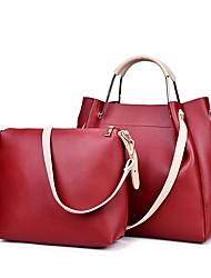 baratos -Mulheres Bolsas PU Conjuntos de saco 2 Pcs Purse Set Ziper Côr Sólida Vermelho / Cinzento / Marron