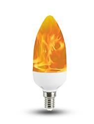 Недорогие -1шт 3 W LED лампы в форме свечи 150 lm E14 T 40 Светодиодные бусины SMD 2835 Декоративная Новогоднее украшение для свадьбы Пламя мерцания Теплый Желтый 85-265 V / RoHs / FCC