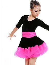 abordables -Baile Latino / Ropa de Baile para Niños Vestidos Chica Entrenamiento / Rendimiento Poliéster / Malla / Pleuche Cinta / Lazo / Volantes en Cascada / Combinación Media Manga Vestido