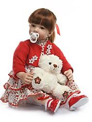 Недорогие -NPKCOLLECTION NPK DOLL Куклы реборн Девочки 24 дюймовый Подарок Ручная работа Искусственная имплантация Коричневые глаза Детские Девочки Игрушки Подарок