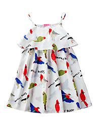 お買い得  -子供 女の子 ベーシック / かわいいスタイル カートゥン プリント ノースリーブ 膝上 ポリエステル / スパンデックス ドレス ホワイト