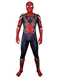 preiswerte -Zentai Anzüge Ganzkörper Anzug Iron Man Erwachsene Cosplay Kostüme Halloween Rote Print Elastan Lycra® Herrn Halloween Karneval Maskerade