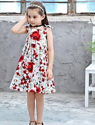 Χαμηλού Κόστους -Παιδιά Κοριτσίστικα Βασικό Φλοράλ Στάμπα Αμάνικο Ως το Γόνατο Πολυεστέρας Φόρεμα Λευκό