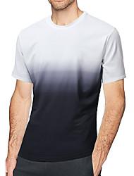 abordables -Tee-shirt Homme, Bloc de Couleur Col Arrondi Mince