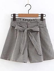 cheap -Women's Street chic Shorts Pants - Plaid Gray