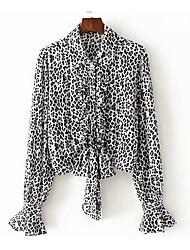 abordables -Mujer Algodón Blusa, Escote en Pico Leopardo
