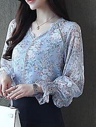 billige -kvinners slanke bluse - geometrisk v-hals