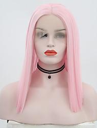 Χαμηλού Κόστους -Συνθετικές μπροστινές περούκες δαντέλας Ίσιο Ροζ Μέσο μέρος Ροζ Συνθετικά μαλλιά 12 inch Γυναικεία Ρυθμιζόμενο / Ανθεκτικό στη Ζέστη / Πάρτι Ροζ Περούκα Κοντό Δαντέλα Μπροστά
