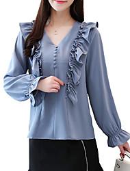 billige -kvinners bomullskjorte - solid farget v-hals