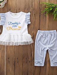 levne -Dítě Dívčí Aktivní / Základní Tisk Mašle / Tisk Bez rukávů Standardní Bavlna / Spandex Sady oblečení Bílá