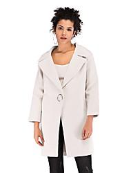 hesapli -Kadın's Suni Kürk Gömlek Yaka Ceket Suits Solid
