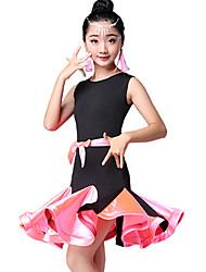 economico -Balli latino-americani / Abbigliamento da ballo per bambini Vestiti Da ragazza Prestazioni Nylon Con ruche / Più materiali Senza maniche Alto Abito
