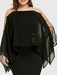 Недорогие -Жен. Большие размеры Классический Оболочка Платье - Однотонный, Аппликация Квадратный вырез Выше колена