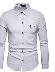billiga -herrtröja från eu / us-storlek - solidfärgad skjorta halsband