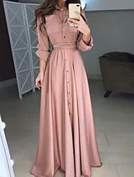Недорогие -Жен. Элегантный стиль С летящей юбкой Платье - Однотонный, кнопка Рубашечный воротник Макси