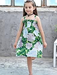 Χαμηλού Κόστους -Παιδιά Κοριτσίστικα Φλοράλ Στάμπα Φόρεμα Πράσινο του τριφυλλιού