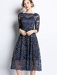 cheap -Women's Basic A Line Dress - Solid Colored Patchwork Blue XL XXL XXXL