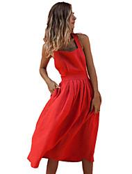 Недорогие -Жен. Уличный стиль С летящей юбкой Платье - Однотонный Средней длины