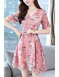 cheap -Women's Elegant A Line Dress - Geometric Pink L XL XXL