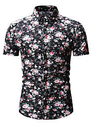 Недорогие -Муж. С принтом Рубашка Хлопок Цветочный принт / Геометрический принт Черный