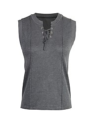 baratos -Camisola de alças em algodão tamanho eu / us feminina - gola redonda em cor sólida