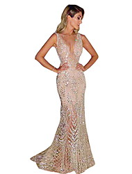 7071db5f0c8c1 Fashion Glitter Dresses Women's Elegant Trumpet / Mermaid Dress - Solid  Colored Sequins Gold Silver L XL XXL
