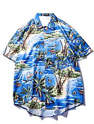 Недорогие -Муж. Рубашка Тонкие Цветочный принт Синий