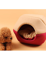 Недорогие -Собаки Коты Кровати Палатка Пещера Кровать Дом домашних животных Плюшевая ткань Животные Коврики и подушки Мода Компактность Складной Красный