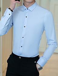 お買い得  -メンズスリムシャツ - ソリッドカラーのクラシックカラー