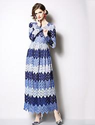 저렴한 -여성용 우아함 스윙 드레스 - 컬러 블럭, 패치 워크 맥시
