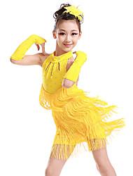 ราคาถูก -ชุดเต้นละติน / ชุดเต้นสำหรับเด็ก ชุดเดรสต่างๆ เด็กผู้หญิง การฝึกอบรม / Performance เส้นใยสังเคราะห์ พู่ / คริสตัล / พลอยเทียมต่างๆ เสื้อไม่มีแขน ชุดเดรส / ถุงมือ