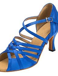 abordables -Mujer Zapatos de Baile Latino Satén Tacones Alto Corte Slim High Heel Personalizables Zapatos de baile Azul