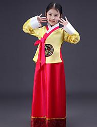 billige -Hanbokpike Barne Jente Asiatisk Tradisjonell koreansk Hanbok Magoja Til Ytelse Forlovelsesfest Utdrikningslag Polyester Lang Lengde Skjørte