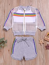 voordelige -Baby Meisjes Actief / Standaard Print Print Lange mouw Normaal Normaal Katoen Kledingset Wit