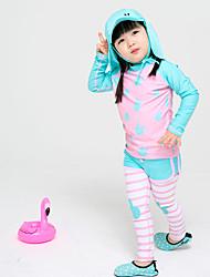 cheap -JIAAO Girls' Rash Guard Dive Skin Suit Thermal / Warm Ultra Light (UL) Wearable Chinlon Long Sleeve Swimwear Beach Wear Swimwear Solid Colored Swimming / High Elasticity