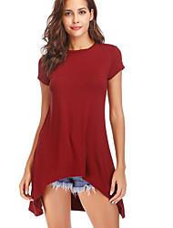 levne -Dámské - Jednobarevné Tričko Štíhlý