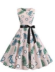 저렴한 -여성용 스트리트 쉬크 칼집 드레스 - 도트무늬, 프린트 무릎 위