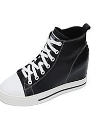 رخيصةأون -نسائي جلد خريف & شتاء أحذية رياضية كعب خفي أبيض / أسود