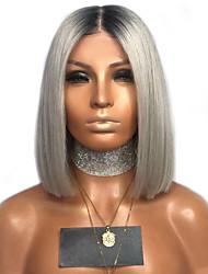 halpa -Synteettiset peruukit Kinky Straight Tyyli Keskiosa Suojuksettomat Peruukki Valkoinen Musta / Valkoinen Synteettiset hiukset 12 inch Naisten Color Gradient Valkoinen Peruukki Pitkä Luonnollinen