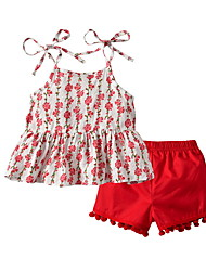 hesapli -Bebek Genç Kız Sokak Şıklığı Çiçekli Kolsuz Normal Polyester Kıyafet Seti YAKUT