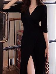 ราคาถูก -เสื้อยืดแม็กซี่เดรสผู้หญิงสีดำคอวีหนึ่งเดียว
