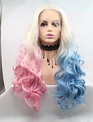 저렴한 -합성 레이스 프론트 가발 곱슬한 / 무광 스타일 레이어드 헤어컷 전면 레이스 가발 블루 스카이 블루 핑크 + 레드 인조 합성 헤어 24 인치 여성용 코스프레 / 여성 / 뜨거운 판매 블루 / 핑크 가발 긴 Sylvia 130 % 인간의 머리카락 밀도 코스플레이 가발