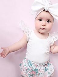 お買い得  -赤ちゃん 女の子 活発的 / ベーシック ソリッド レース / ベーシック 半袖 / ノースリーブ コットン / ポリエステル ボディスーツ ホワイト