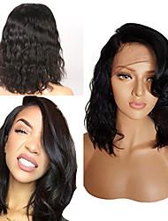 voordelige -Human Hair Capless Pruiken Echt haar Golvend Korte Bob Stijl Feest / Dames / Beste kwaliteit Kort 6x13 Sluiting Pruik Braziliaans haar Dames