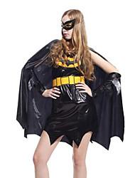 preiswerte -Superheld Cosplay Kostüme Erwachsene Damen Cosplay Halloween Halloween Karneval Maskerade Fest / Feiertage Polyester Schwarz Karneval Kostüme Einfarbig