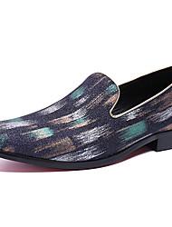 hesapli -Erkek Ayakkabı Nappa Leather Bahar Günlük / İngiliz Mokasen & Bağcıksız Ayakkabılar Günlük / Parti ve Gece için Metal Siyah / Çizgili