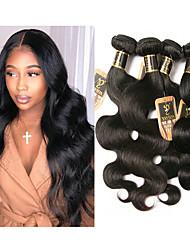 olcso -6 csomag Brazil haj Hullámos haj 100% Remy hajszövési csomó Az emberi haj sző Bundle Hair Egy Pack Solution 8-28 hüvelyk Természetes szín Emberi haj sző Szagmentes Vastag Fekete hölgyeknek Human Hair