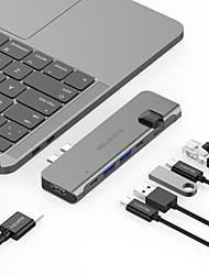 Недорогие -LENTION CB-TP-CS65THE USB 3.0 Тип C to HDMI 2.0 / Thunderbolt / USB 3.0 / USB 3.0 Тип C / RJ45 USB-концентратор 8 Порты Высокая скорость / Функция поддержки питания / Поддержка Thunderbolt 3